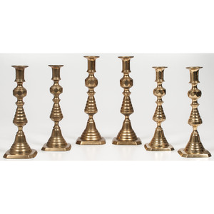English Brass Beehive Candlesticks
