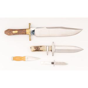 Lot of Four Custom Fixed Blade Knives