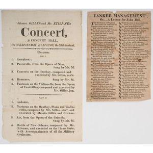 War of 1812-Era Poem and Concert Broadside Featuring the