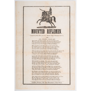 Illustrated Civil War Recruiting Broadside/Song Sheet, Colonel Swain's 11th New York Cavalry