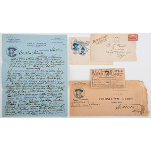Buffalo Bill Cody Signed Courtesy Pass, Addressed Envelope, and More
