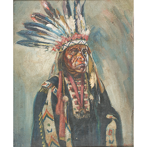 Portrait of Chief Little Wound (Oglala, ca 1935-1899) Oil on Canvas