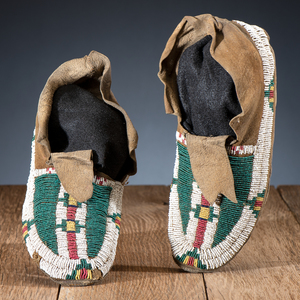 Arapaho Beaded Hide Moccasins, From the James B. Scoville Collection