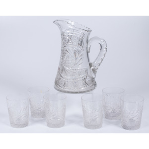 American Cut Glass Pitcher and Tumblers