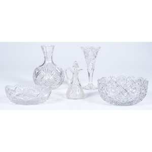 Cut Glass Vases and Bowls, Plus