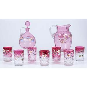 Painted Cranberry Glass Pitcher, Decanter and Tumblers