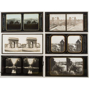 Glass Stereoview Collection, Incl. Girard College and Niagara Falls Suspension Bridge, Plus