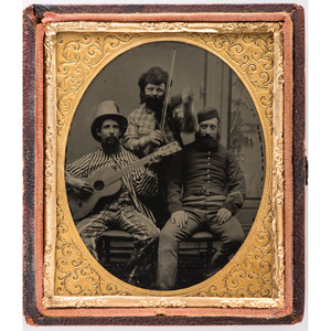 Sixth Plate Ambrotype of a Curious Trio, Two with Instruments, One in Military Dress