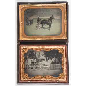 Two Quarter Plate Ambrotypes of Horse-Drawn Wagons