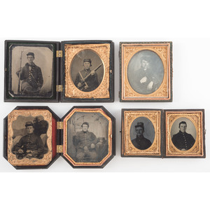 Civil War Daguerreotype, Ambrotype, and Tintypes of Soldiers, Many Armed, Lot of Seven