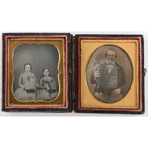 Two Sixth Plate Daguerreotypes of People with Instruments, Including Trumpet and Concertinas