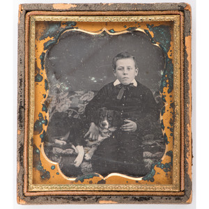 Sixth Plate Daguerreotype of a Young Boy and his Dog