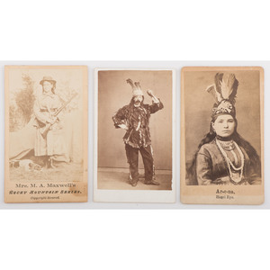 Three CDVs of Western Personalities and Performers, Incl. Martha Maxwell and Buffalo Bill Impersonator