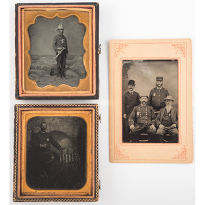 Occupational Tintypes Featuring Fireman with Trumpet and Lawman