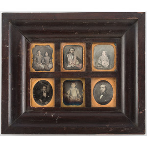 Daguerreian Wall Frame Containing 6 Sixth Plate Daguerreotypes