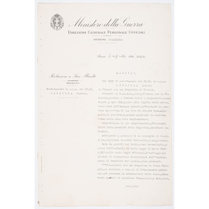 Mussolini Signed Ministry of War Document, 1934