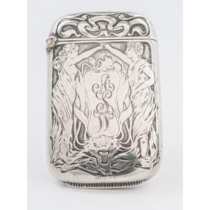 Art Nouveau Sterling Match Safe with Figural Decoration