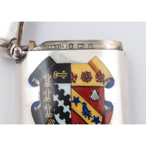S. Blanckensee & Sons Ltd. Sterling Match Safe with Enameled Armorial