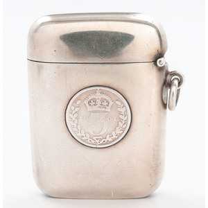English Sterling Match Safe with Queen Victoria Coin