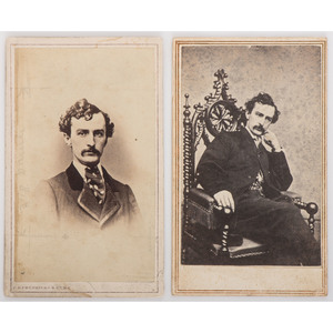 John Wilkes Booth, Pair of CDVs, One by C.D. Fredericks & Co.
