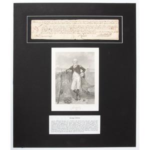 [Americana - Manuscript Document - Autographs] George Clinton Signed Arrest Warrant, 1773, with Lithograph