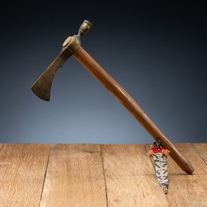 Plains Pipe Tomahawk with Beaded Hide Drop, From the James B. Scoville Collection
