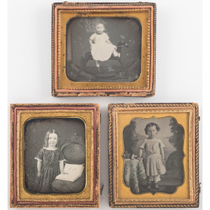 Exceptional Trio of Sixth Plate Daguerreotypes of Children Posed with Toys or Books