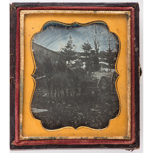 Sixth Plate Daguerreotype of Man Seated on Horse-Drawn Wagon Full of Cut Lumber