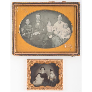 Daguerreotype and Ambrotype of Parents with Children, Featuring Portrait of Mother with Baby and Young Drummer Boy