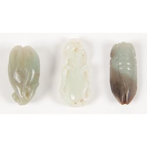 Chinese Carved Jade Corn, Buddha's Hand and Locust