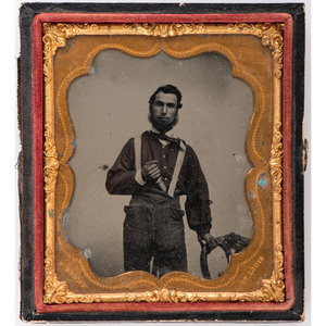Sixth Plate Ruby Ambrotype of Young Man with Bowie Knife by St. Louis Photographer