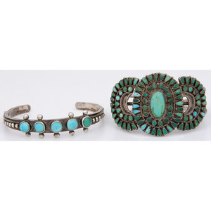 Zuni and Navajo Silver and Turquoise Cuff Bracelets