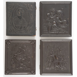 Four Sixth Plate Figural Photographic Cases, Incl. Jenny Lind and Fireman Saving Child