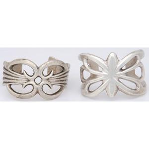 Navajo Silver Sand Cast Cuff Bracelets