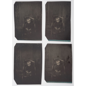 Fine Group of Tintypes and CDVs of Children, Incl. Four Tintypes of Young Boy Taken from Four Lens Camera, Lot of 12