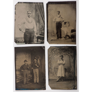 Occupational Tintypes of Firemen and Other Men in Uniform, Lot of 4