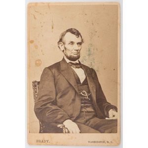 Abraham Lincoln Cabinet Card by Anthony Berger, Brady's National Portrait Gallery