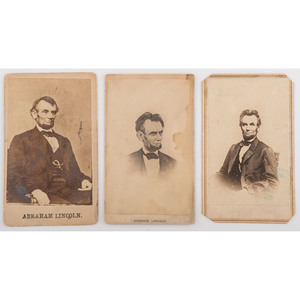 Abraham Lincoln, Three CDVs, Incl. Last Known Pose Before his Death