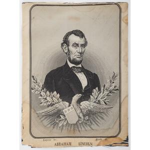 Abraham Lincoln Memorial Woven Silk Portrait