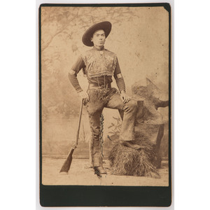 Cabinet Card of Wild West Performer with Stevens Tip Up Rifle