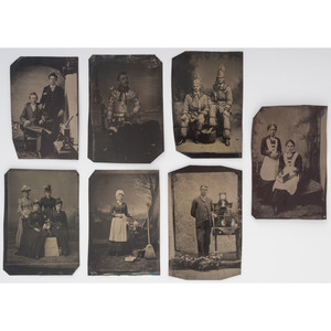 Fine Group of Occupational Tintypes, Incl. Female Clerks, Maids, Jewelry Salesman, and More