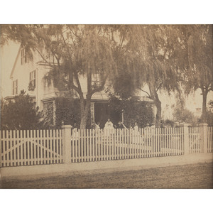 Large Format Albumen Photograph of Possible Charleston Home, Incl. African American Servants