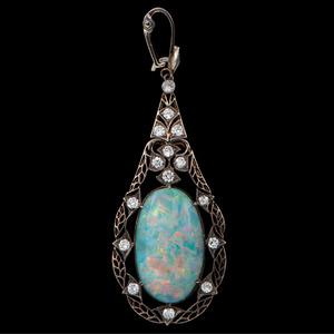 Silver Topped 14k Gold Opal Pendant