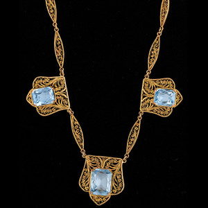 14k Gold Blue Topaz Filigree Necklace