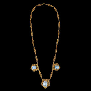 14k Gold Blue Topaz Filigree Necklace