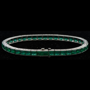 Platinum Green Glass Bracelet
