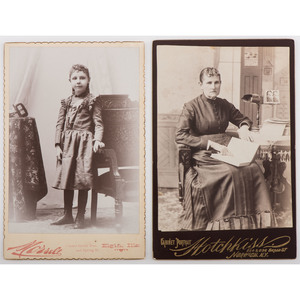 Cabinet Cards of a Woman and Child Posed with Stereoviewers