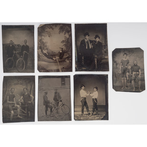 Sports and Leisure, Group of Tintypes of Pugilists, Swimmers, Bicyclists, Ice Skaters, and More
