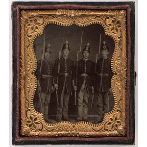 Civil War Tintypes of Infantrymen Armed with Rifled-Muskets and Bayonets, Incl. Outdoor Portrait