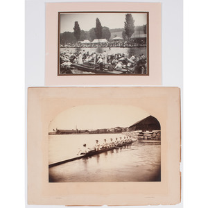 Fine Pair of Rowing Photographs, Incl. View of Yale/Harvard Regatta on Thames River, Groton, CT, 1896